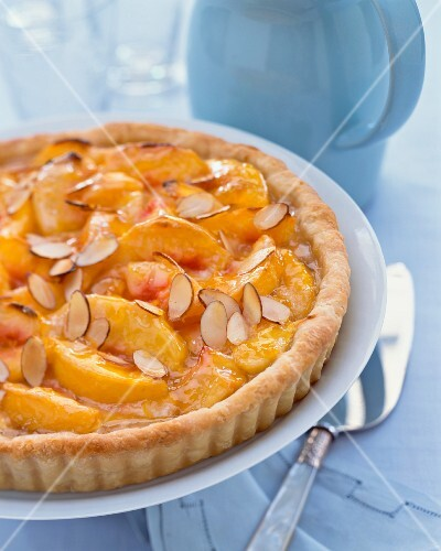 Whole Peach Almond Tart, Silver Cake Server