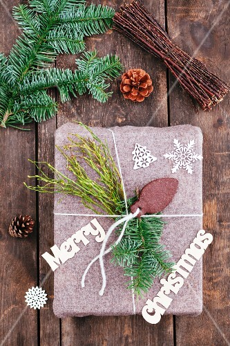 Christmas gift on wooden table