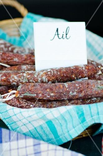 French garlic sausage at a market