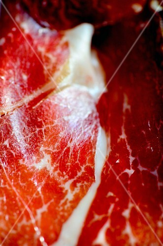 A close-up of air-dried Iberico ham from Spain
