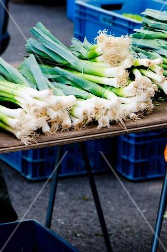 Bundles of leeks on a market stand