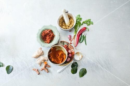 Three types of Thai curry paste