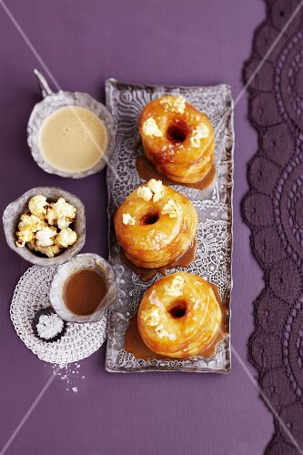 Croissant-Doughnuts with caramel and popcorn