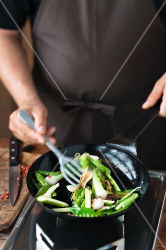 Vegetables being stir fried
