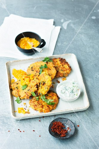 Carrot fritters with a dip