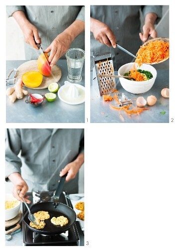 Carrot fritters being made