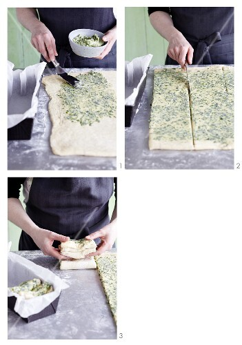 Wild garlic fan bread being made