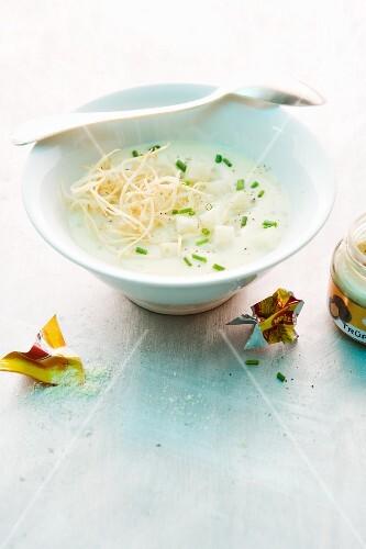 Truffled cream of potato soup with celery