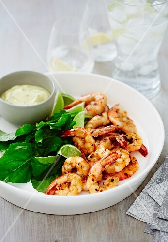 Grilled prawns with coriander mayonnaise
