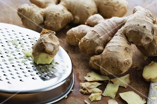Fresh ginger with a grater