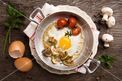 Fried egg with mushrooms and tomatoes