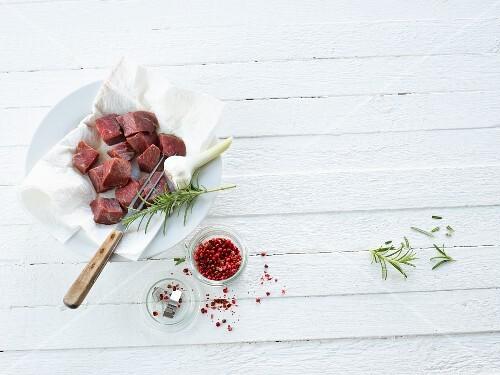 Beef, garlic, rosemary and peppercorns