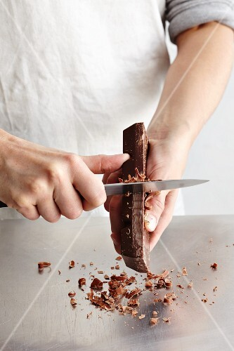 Chocolate curls being made