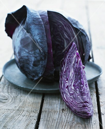 A sliced red cabbage