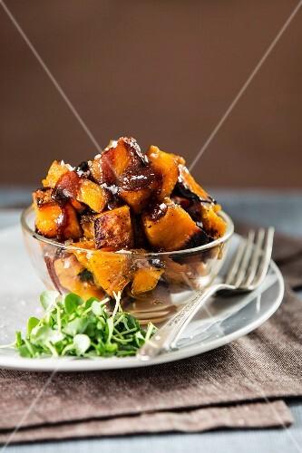 Diced roasted pumpkin with salted caramel sauce