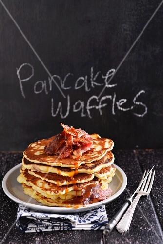 Savoury pancakes with bacon