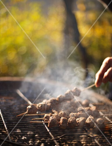 Venison skewers on a barbecue for an autumnal picnic