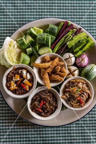 Nam prik (spicy sauces with vegetables, Thailand)