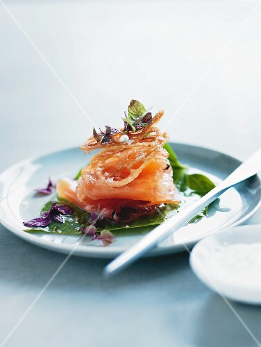Marinated salmon with bamboo shoots