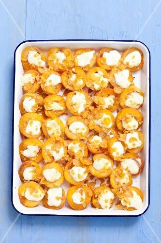 Apricot gratin with mascarpone and honey