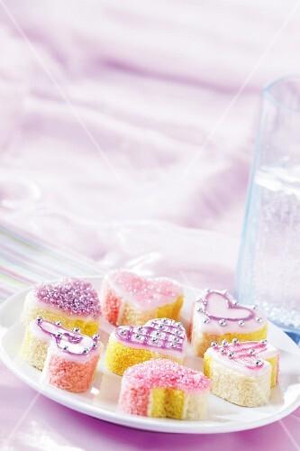 Heart-shaped angel cakes