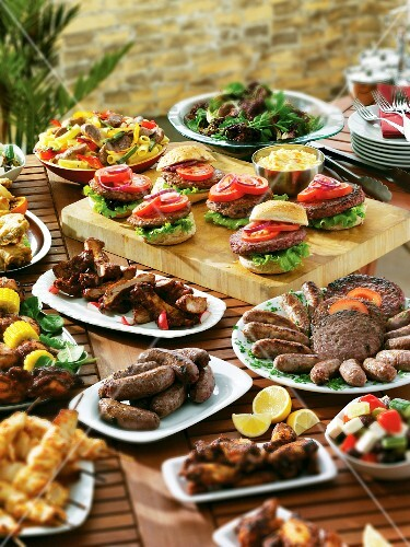 A barbecue buffet