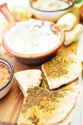Pita bread and babaganoush