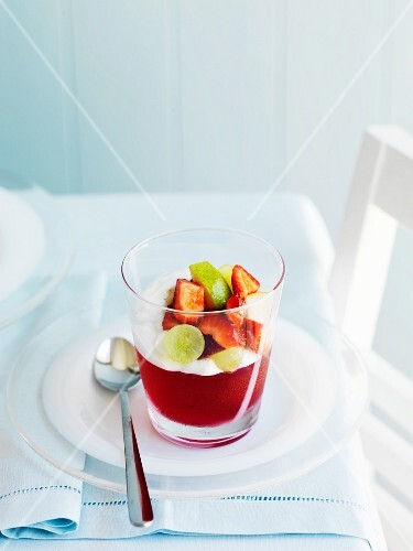 Fruit jelly with yoghurt and fruit salad