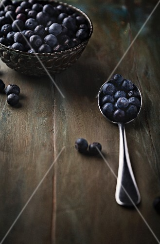 Fresh blueberries in a bowl and on a spoon