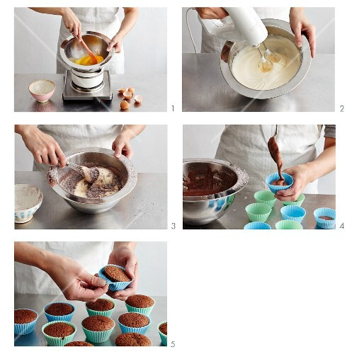 Chocolate sponge cakes being made