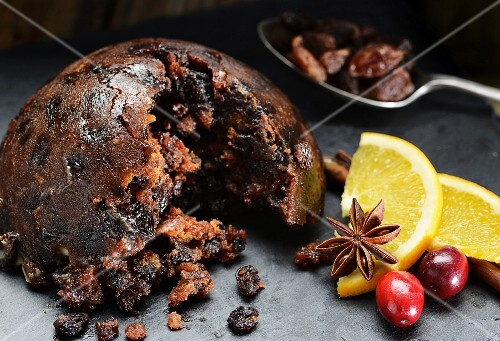 Christmas pudding with cranberries and oranges
