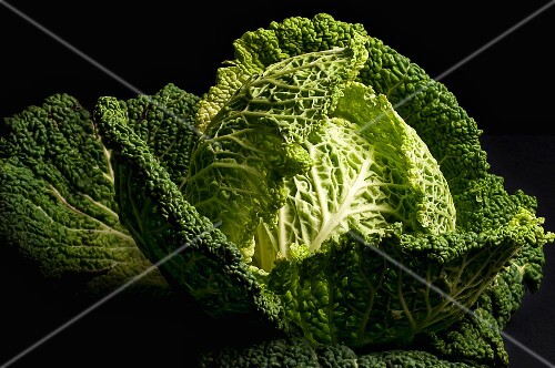 Savoy Cabbage on a black surface