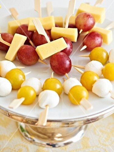Cheese and fruit skewers for an Easter brunch