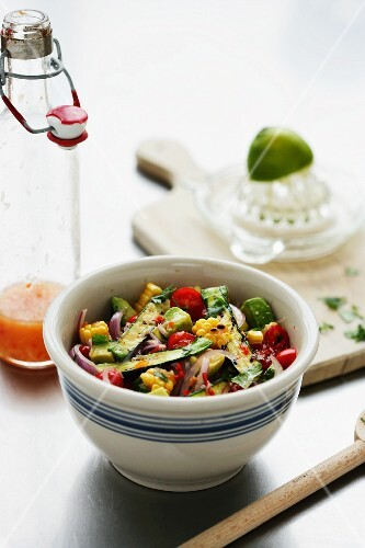 Courgette and sweetcorn salsa with chilli peppers