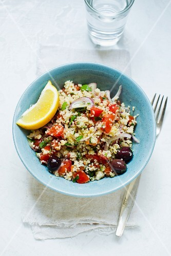 Couscous salad with olives and tomatoes