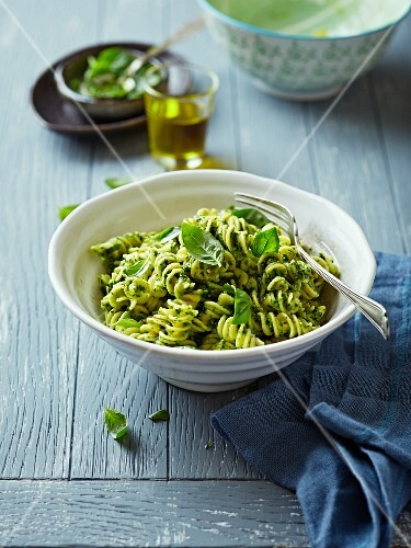 Fusilli with salsa verde and basil