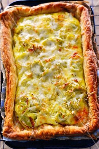 Leek and mustard tart