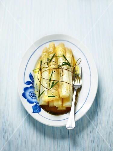 White asparagus with chive vinaigrette