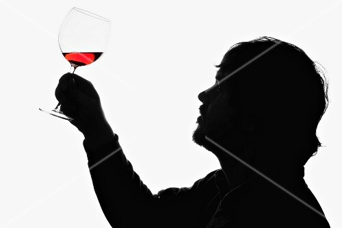 A man holding up a glass of red wine to examine it