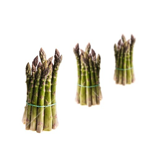 Three bunches of green asparagus
