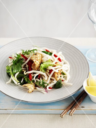 Bean sprout salad with chilli and calamari