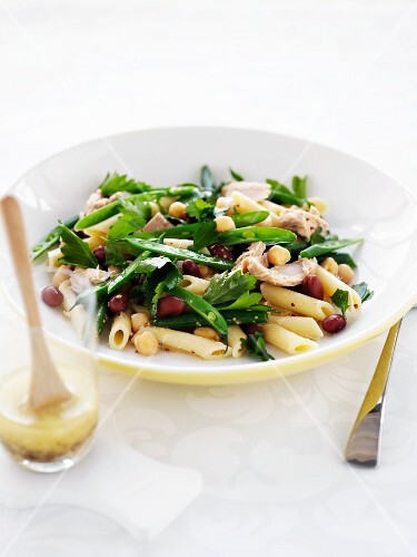 A pasta salad with tuna and beans