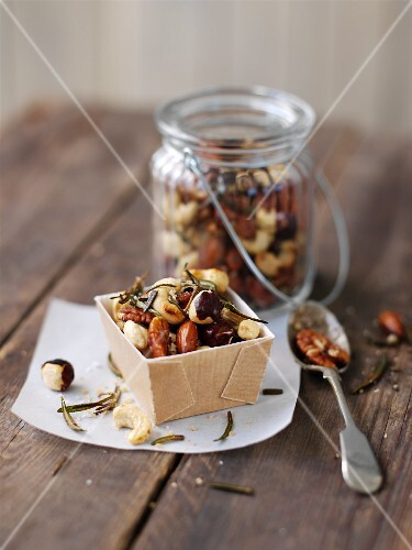 A salted nut mixture with rosemary