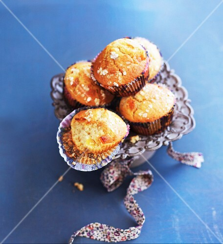 Apricots muffins with sugar in an old-fashioned dish