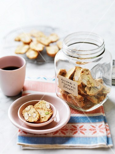 Biscotti with almonds and pistachio nuts