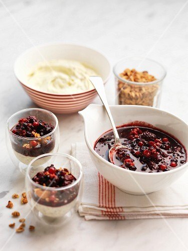 Berry compote with honey for breakfast