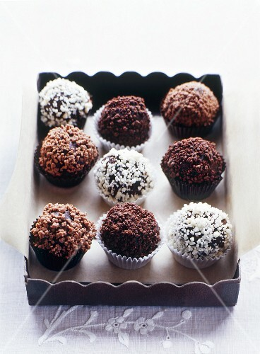 Chocolate truffles in a box