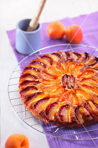 Marzipan cake with apricots and peaches