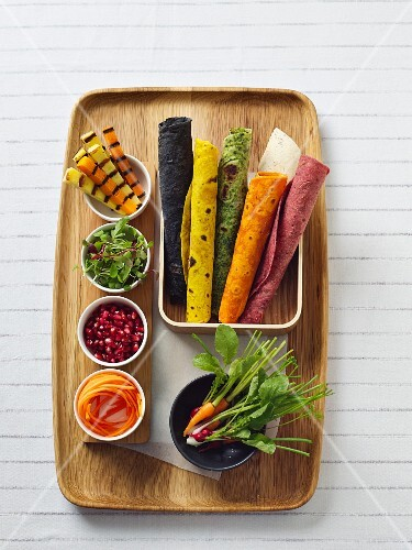Colourful wraps with various ingredients