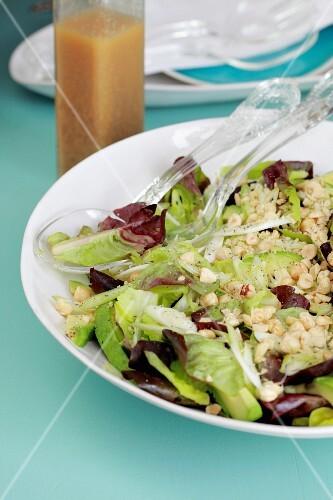 A green salad with a hazelnut dressing